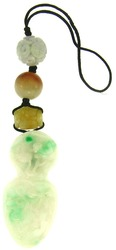 Natural Carved Green Jadeite Jade Finial Purse Charm w/ Red, Lavender & Yellow Jadeite Jade Bead Accents On Silk Cord