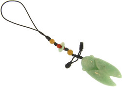 Natural Carved Green Jadeite Jade Cicada Purse Charm w/ Green, Yellow & Red Jadeite Jade Accents On Silk Cord - DISCONTINUED