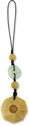 Natural Yellow & Green Jadeite Jade Prayer Wheel and Disc Purse Charm