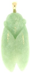 Natural Carved Green Jadeite Jade Cicada Pendant