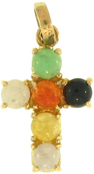 Natural Multi-Color Jadeite Jade Round Stones Set 14K Yellow Gold Cross Pendant