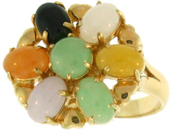 Natural Multi-Color Jadeite Jade Oval Stone Ring w/ Green Jadeite Jade Round Stone Center & 14K Yellow Gold Heart Accents, Size 7