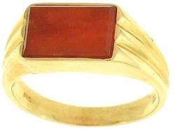 Natural Red Jadeite Jade Tablet Set In14K Yellow Gold Fluted Ring, Size 7
