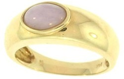 Natural Lavender Jadeite Jade Oval Stone Ring, Size 6