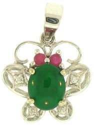 Natural Green Jadeite Jade Oval Set 18K White Gold Butterfly Pendant w/ Diamond & Ruby Accents