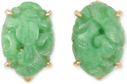 Carved Natural Oval Green Jadeite Jade and 14K Yellow Gold Cufflinks
