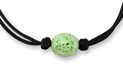 Natural Green Jadeite Jade Carved Floral & Coin Bead on Adjustable Cord Necklace