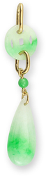 Natural Green Jadeite Jade Carved Coin w/ Drop Pendant 18K Yellow Gold