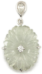 Natural Ice Jadeite Jade Flower w/ 0.13ctw Diamond 18K White Gold Pendant