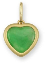 Natural Green Jadeite Jade Heart Satin Finish 18K Yellow Gold Mounting Pendant