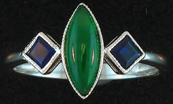 Sz 7.25 Marquise Natural Green Jadeite Jade Square Sapphires 18K White Gold Ring