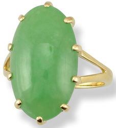 Sz 7.25 Oval Cab Natural Green Jadeite Jade 18K Yellow Gold Multi-Prong Ring - SOLD