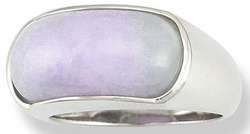 Sz 7 Saddle Cut Natural Lavender Jadeite Jade 18K White Gold Ring