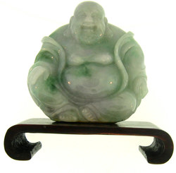Natural Carved Green & Lavender Jadeite Jade Seated Buddha Statuary w/ Wooden Stand