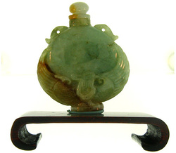 Natural Carved Green & Red Jadeite Jade Snuff Bottle Statuary w/ Screw Stopper Top