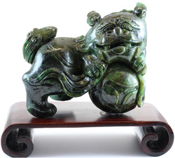 Natural Carved Dark Green Jadeite Jade Fu-Dog w/ Orb Of The World Statuary & Wooden Stand