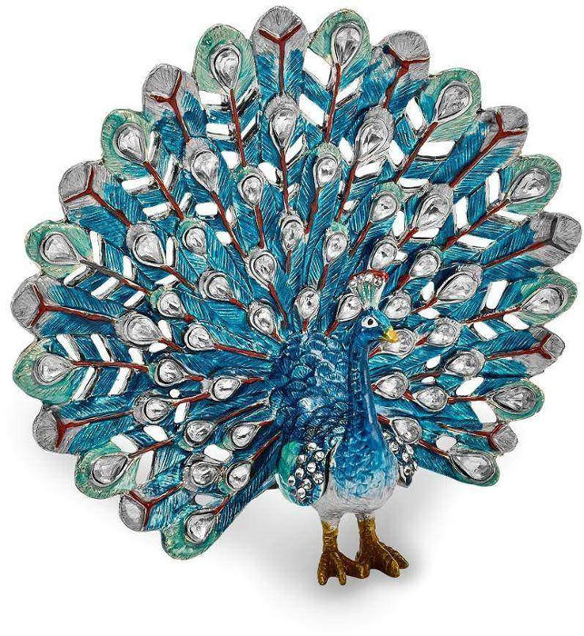 Bejeweled Blue Peacock Trinket Box