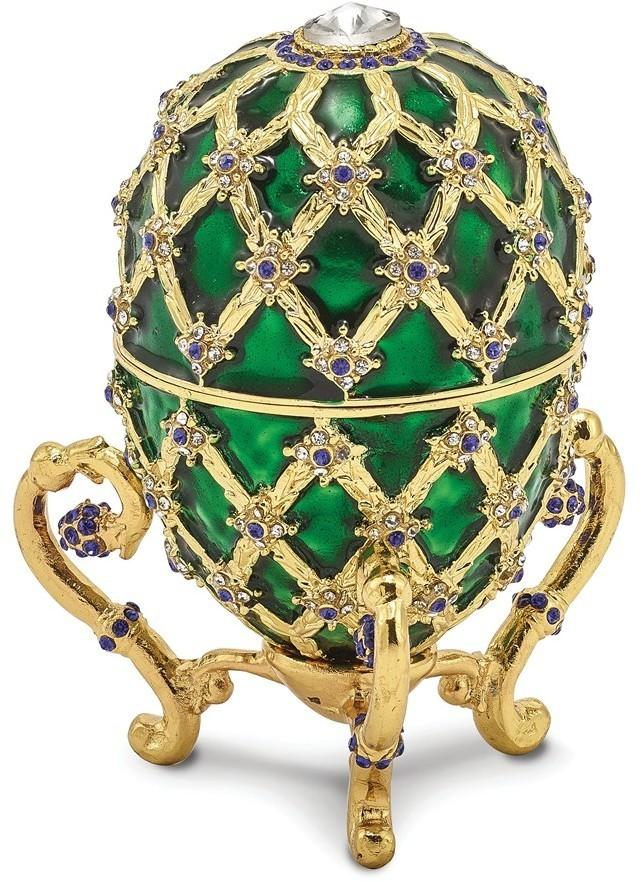 Bejeweled Green w/ Royal Coach & Ring Holder Egg