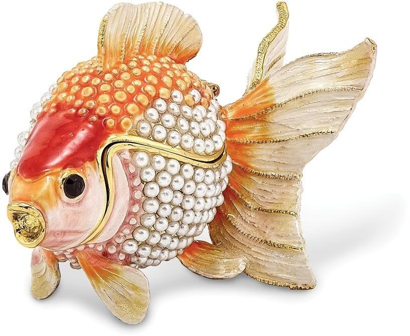 Bejeweled Simulated Pearls Goldfish Trinket Box