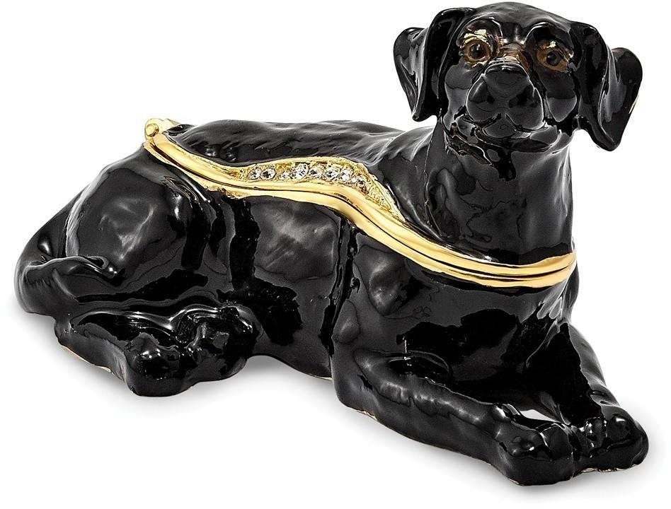 Bejeweled Black Labrador Dog Trinket Box