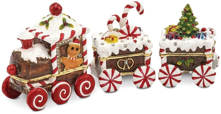 Bejeweled Candy Cane Train Trinket Box
