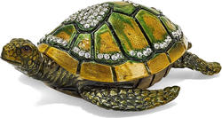 Bejeweled Sea Turtle w/ Heart Trinket Box
