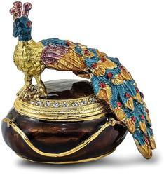 Bejeweled Peacock Atop Trinket Box