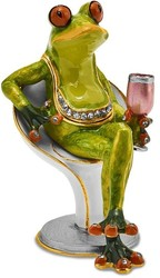 Bejeweled Vino Frog Trinket Box