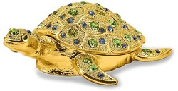 Bejeweled Gold-Tone Sea Turtle Trinket Box
