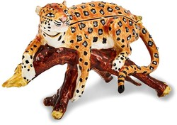 Bejeweled Leopard in Tree Trinket Box