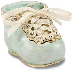 Bejeweled Blue Baby Bootie Trinket Box