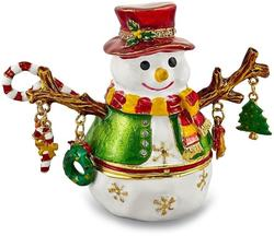 Bejeweled Snowman Tree Trinket Box
