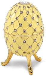 Bejeweled Royal Antiqued Yellow Musical Egg