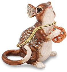 Bejeweled Mouse w/ Cheese Trinket Box