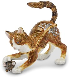 Bejeweled Playful Cat & Mouse Trinket Box