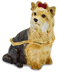 Bejeweled Black & White Yorkie Dog Trinket Box
