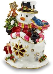 Bejeweled Jolly Snowman Trinket Box