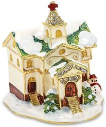 Bejeweled Winter Church Trinket Box
