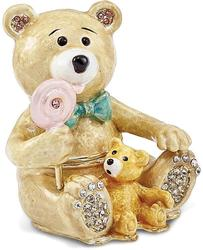 Bejeweled Two Teddy Bears Trinket Box