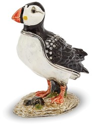 Bejeweled Black / White Puffin Trinket Box