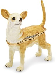 Bejeweled Chihuahua Dog Trinket Box