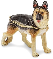 Bejeweled German Shepherd Dog Trinket Box
