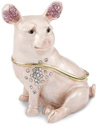 Bejeweled Bashful Pig Trinket Box