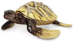 Bejeweled Yellow Sea Turtle Trinket Box
