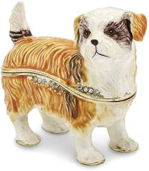 Bejeweled Shih-Tzu Dog Trinket Box