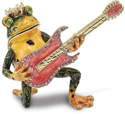 Bejeweled Frog with Guitar Trinket Box