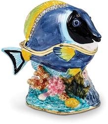Bejeweled Blue Tang Fish Trinket Box
