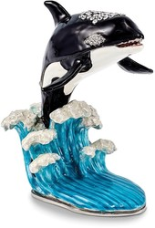 Bejeweled Orca on Wave Trinket Box
