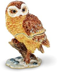 Bejeweled Owl on Branch Trinket Box
