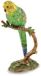 Bejeweled Large Parrot On Branch Trinket Box
